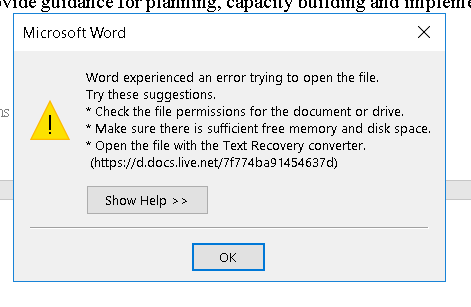 error message for word 2016 64 bit \