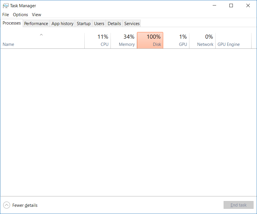 Task Manager not showing any processes after Fall Creator\u0027s Update