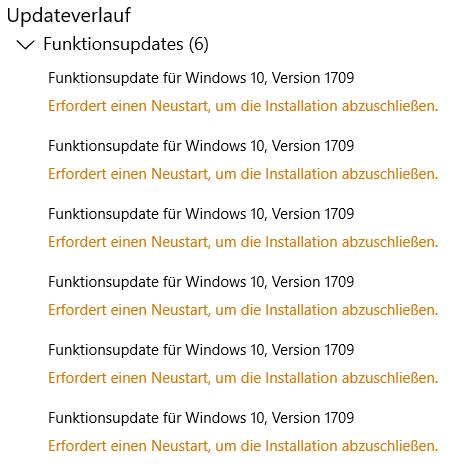 Win 10 Update auf Win 1709 (Creators Upgrade) funktioniert bei mir nicht.