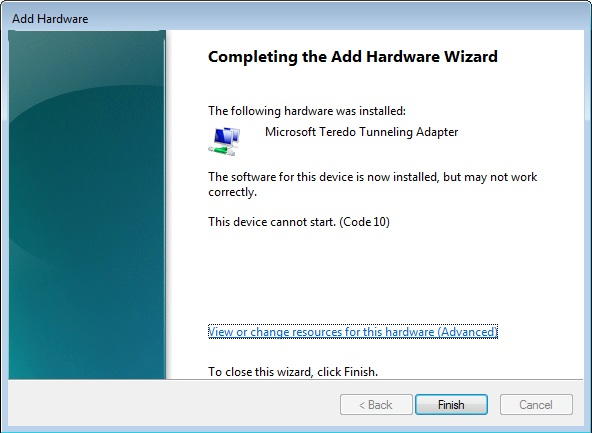 pilote microsoft teredo tunneling adapter pour windows 7