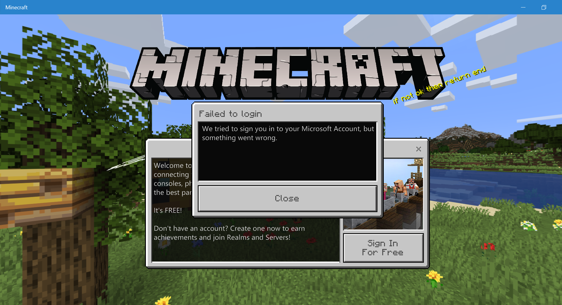 """Minecraft Windows 9 Edition: """"We tried to sign into your"""