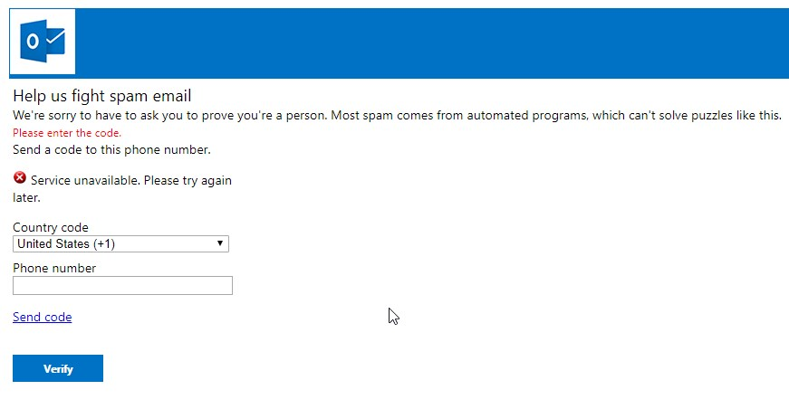 Your SMS verification service is unavailable - Microsoft