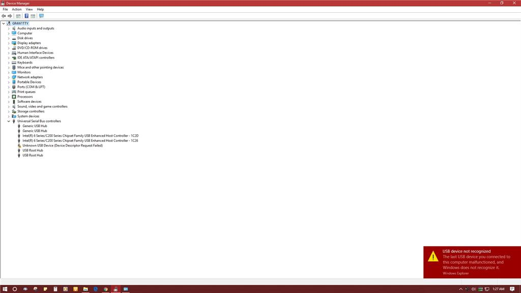 Error 43 : Unknown USB Device (Device Descriptor Request - Microsoft
