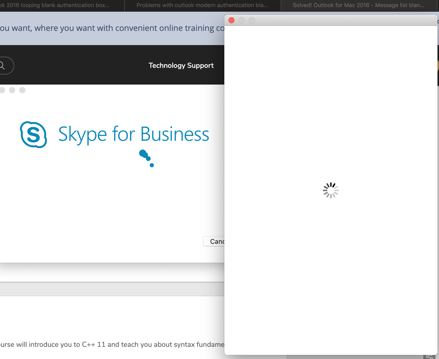 Skype for Business app and web app issues on OSX Mohave