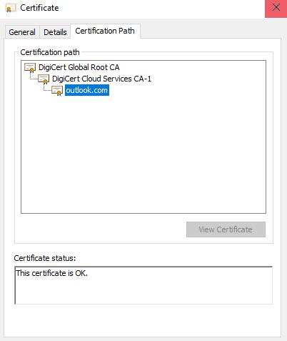 Security Alert: outlook office365 com Revoked Certificate Status