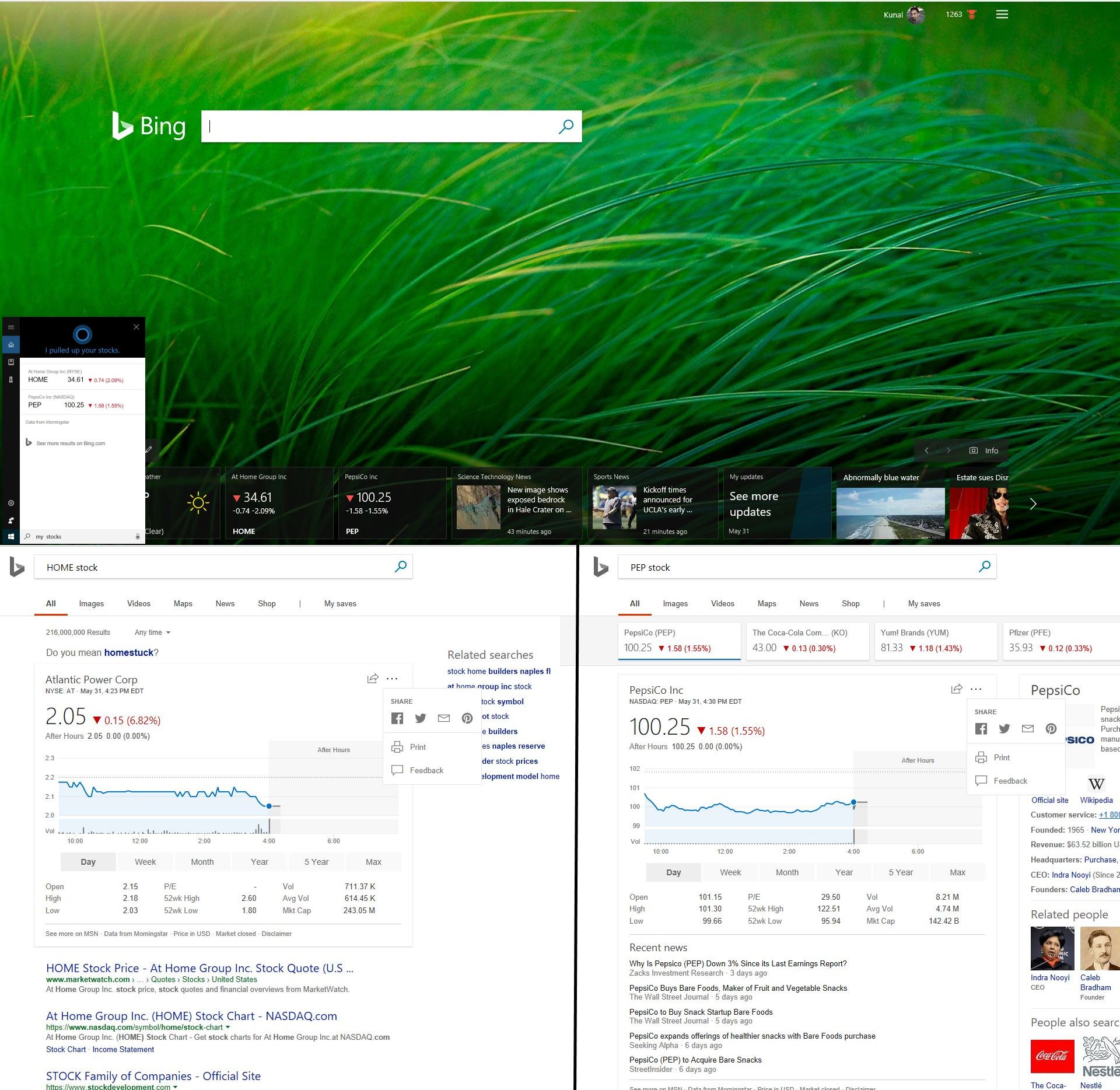Bug Report Bing Home Page Shows Stocks That Im Not Microsoft
