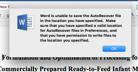 Problems with word autorecovery on macbook pro - Microsoft Community