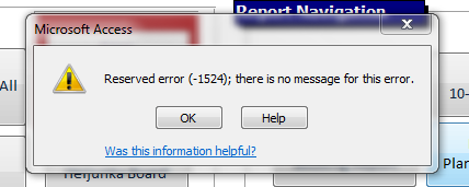 Reserved error