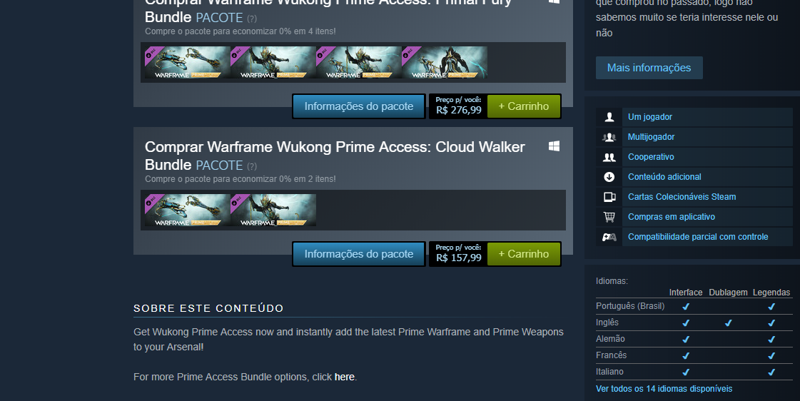 Diferent prices on warframe across all plataforms