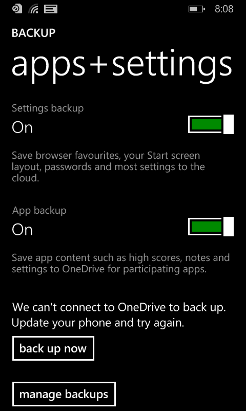WP8 1 (Lumia 620) backup to cloud is not working on my phone