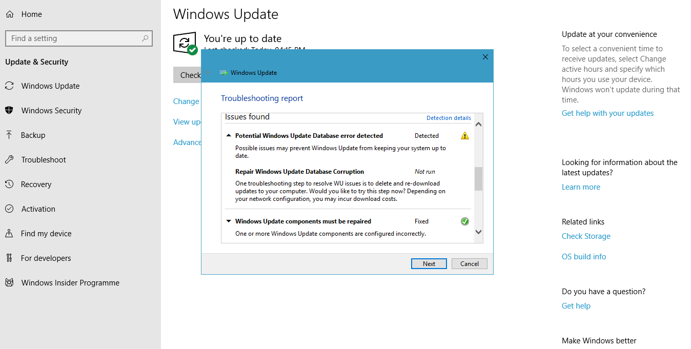 potential windows update database error detected 2019