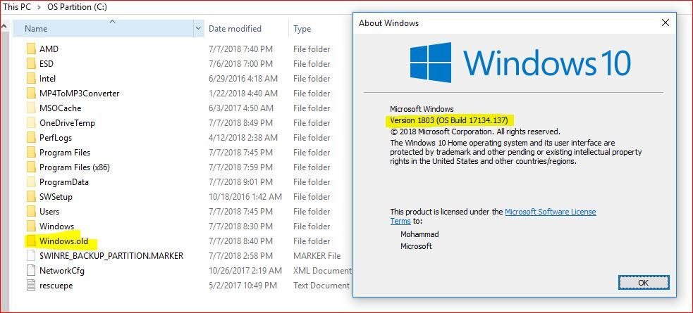 Can I delete the 'Windows old' folder safely after Windows