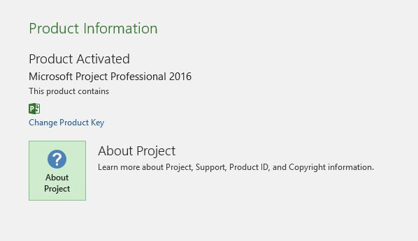 change ms project 2016 product key