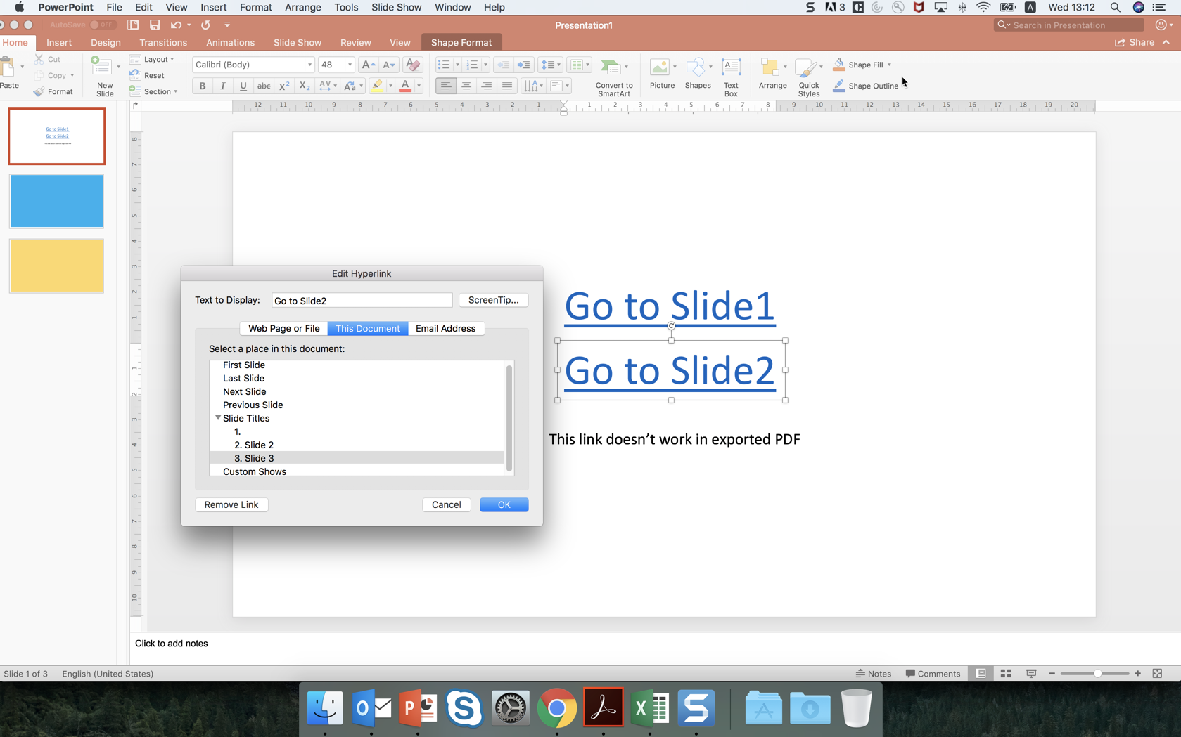 the hyperlink is not working in PDF exported from powerpoint for Mac