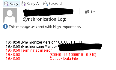 Outlook 2016 Synchronization error with IMAP accounts