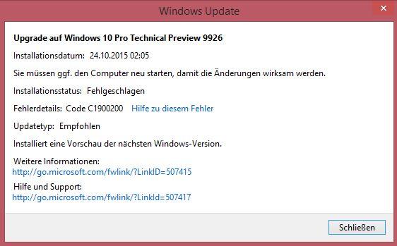 Installation von Build 9926 nicht möglich (GELÖST)