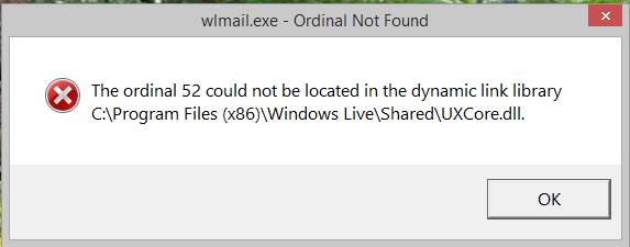 The Ordinal 52 could not be located in the dynamic link library