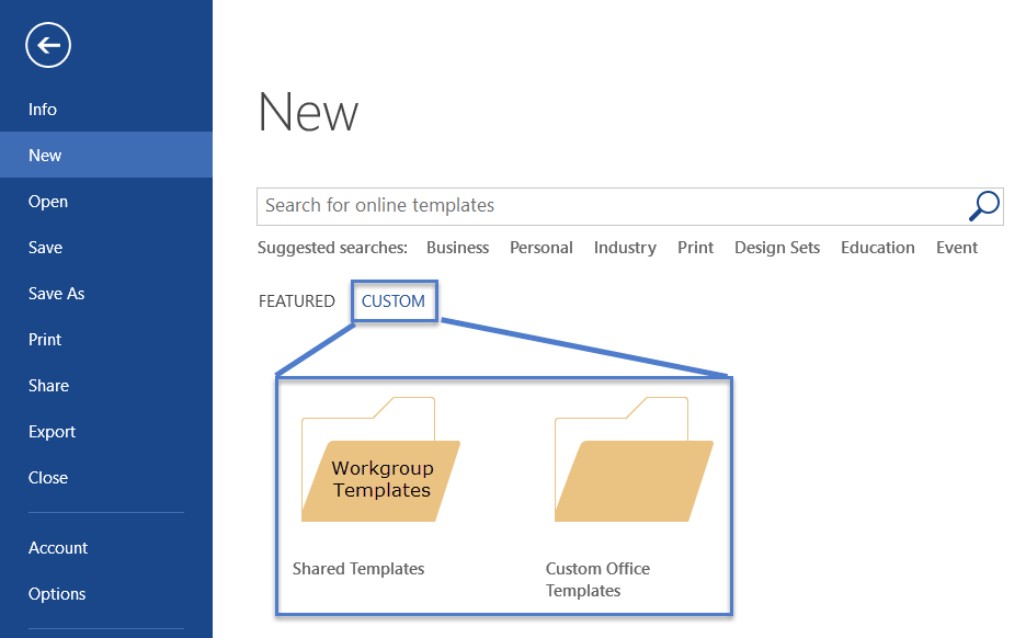 show your workgroup templates folder and your custom office templates folder on my system workgroup templates are in the folder shared templates