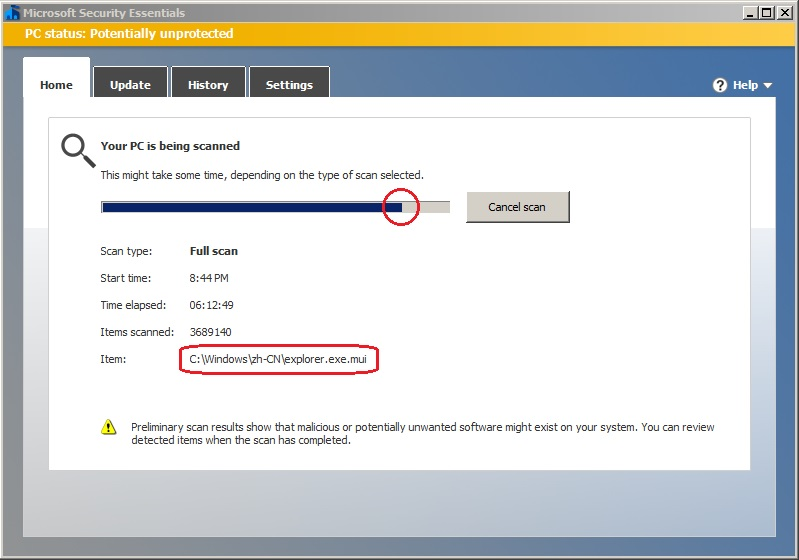 Microsoft Security Essentials stops or freezes during full
