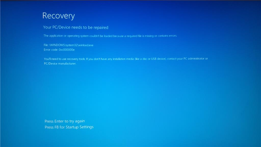 startup disk error windows 10