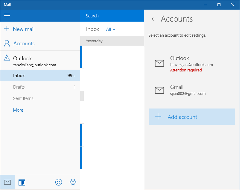 Windows 10 mail app always show
