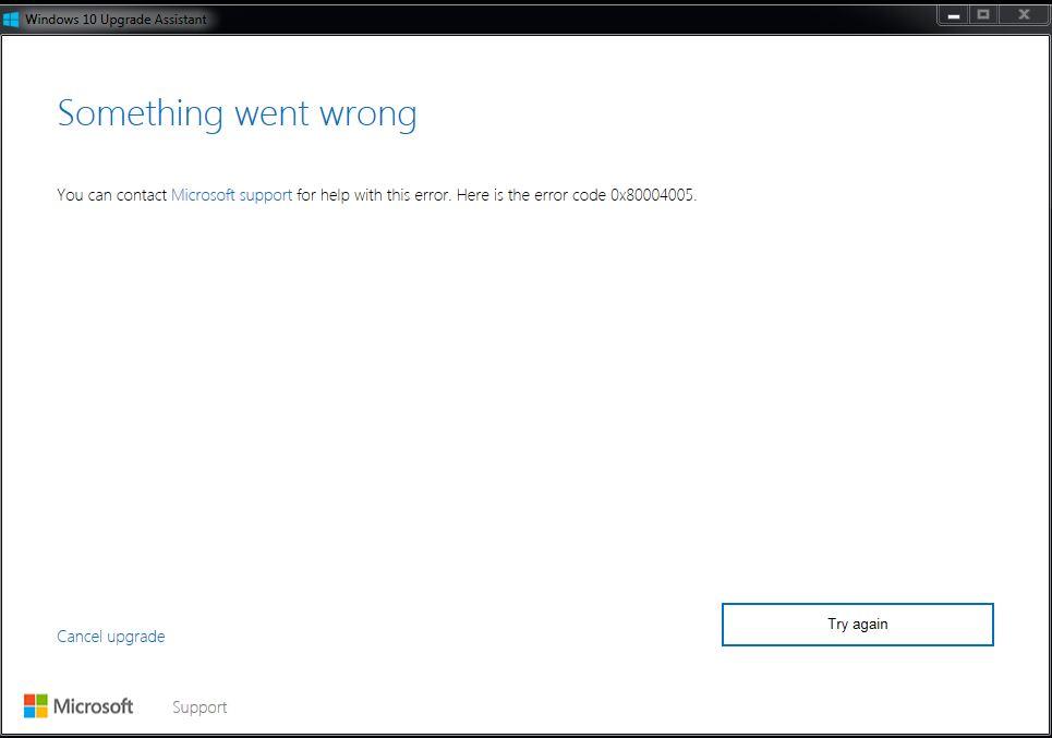 Something went wrong error 0x80004005 - Microsoft Community