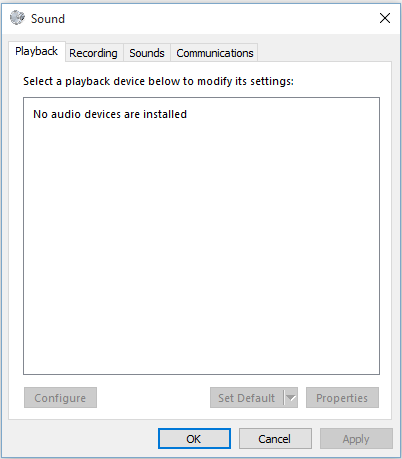 no audio device after windows update