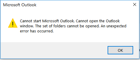 Cannot start Microsoft Office  Cannot open the Outlook Window