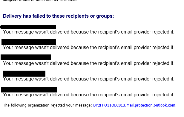 Your message wasn't delivered because the recipient's email
