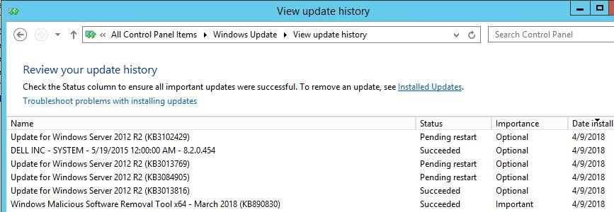 Windows optional update pending restart