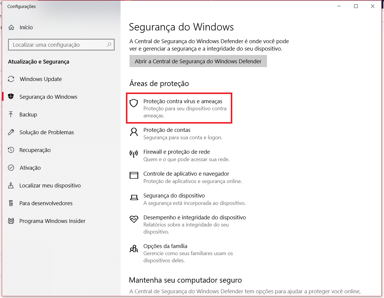 87e981c55b Proteção contra vírus e ameaças - Página - Microsoft Community