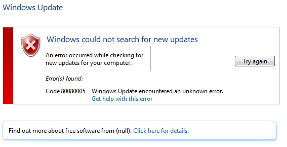 Windows Update Fixit >> Windows Update Error 0x80080005 And System Freezes At Microsoft