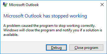 Outlook 2016 crashes using it with Exchange Server 2010