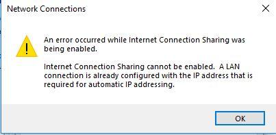 Internet Connection Sharing - Microsoft Community