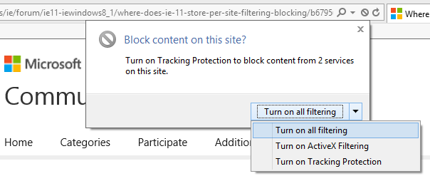 Where does IE 11 store per site Filtering (blocking) and