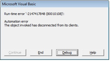 Automation Error, the object invoked has disconnected from its