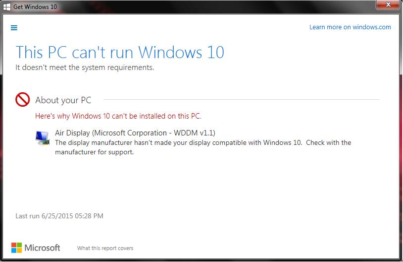 Windows 7 PC can't run Windows 10 due to Air Display HELP