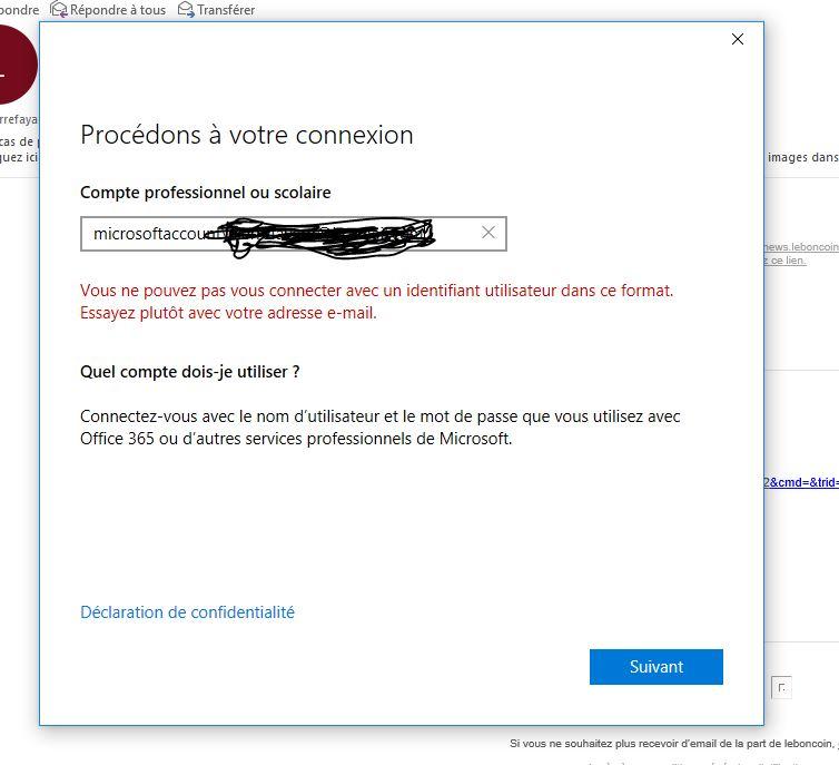 Outlook 2016, fenêtre : Procédons à votre connexion - Microsoft