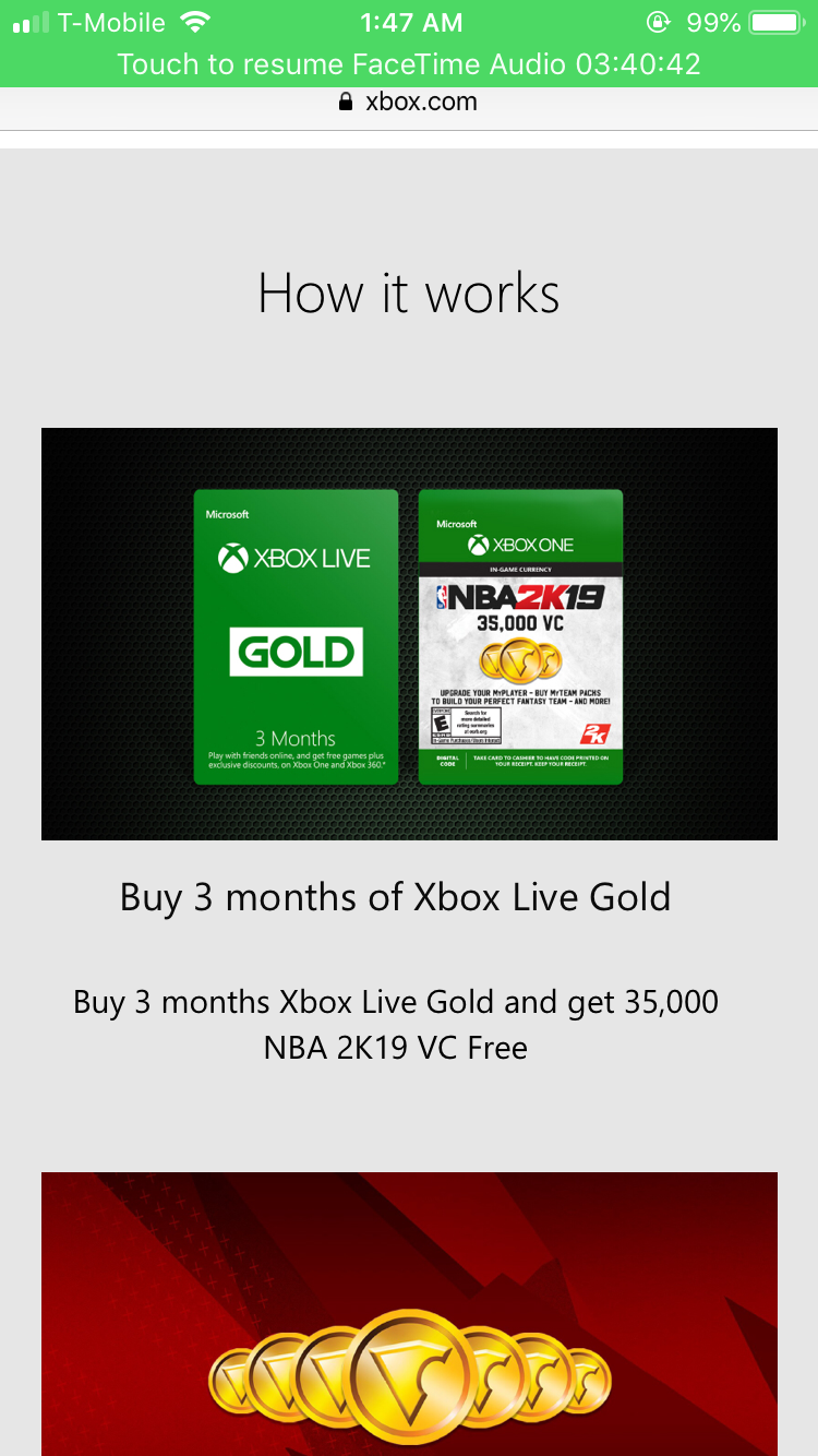 NBA 2K19 35,000 VC and Xbox Live Deal - Microsoft Community