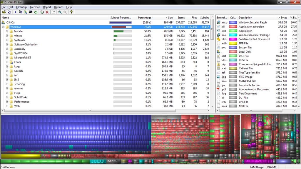 Is Windows folder supposed to take up 72GB of storage? - Microsoft
