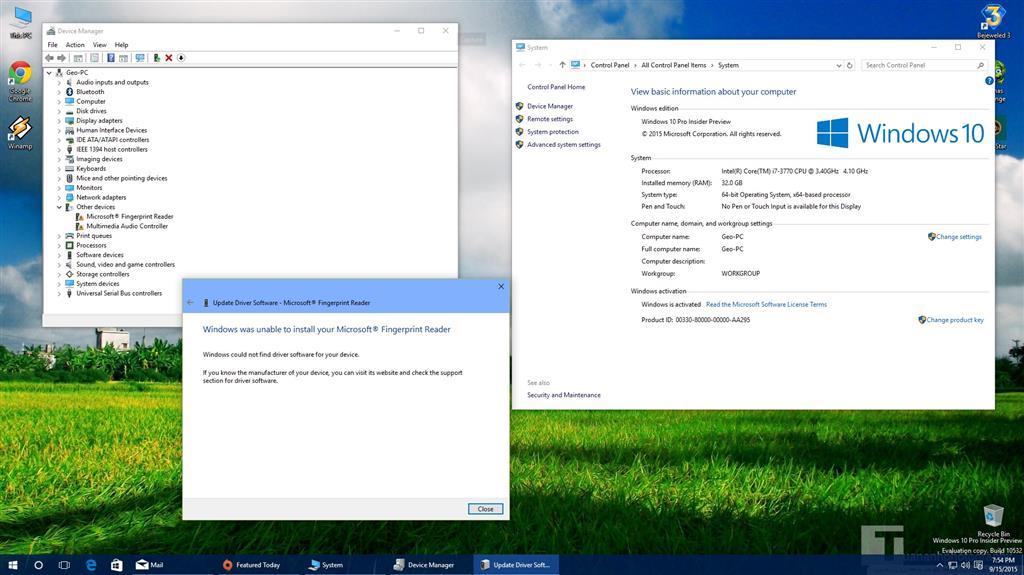 Microsoft® Fingerprint Reader drivers for Windows 10
