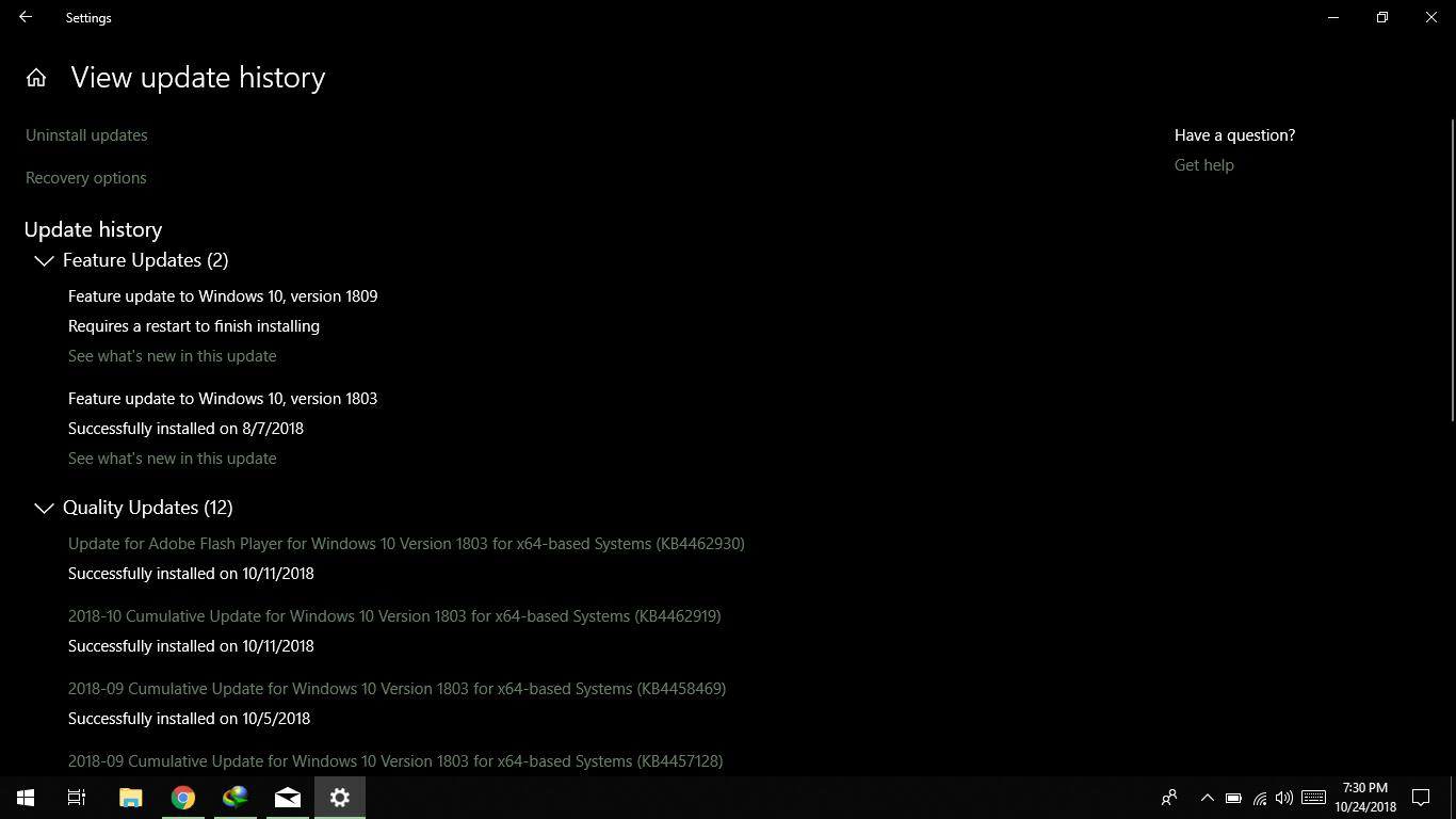 1809 Menu windows 10 1809 update won't intsall - microsoft community