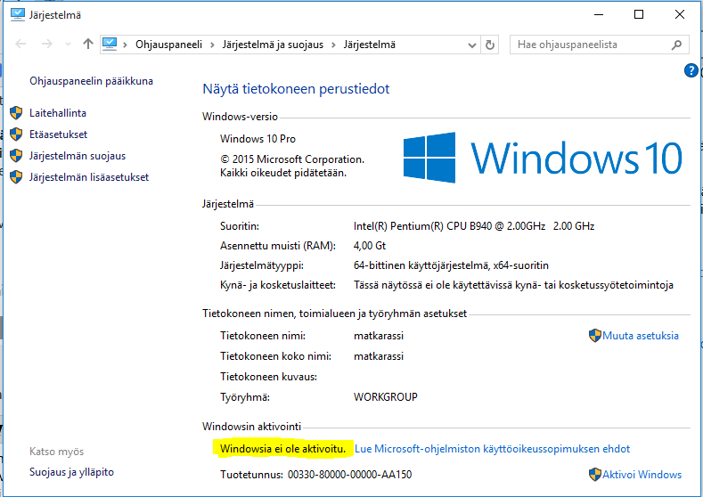 Windows 7 Aktivointi