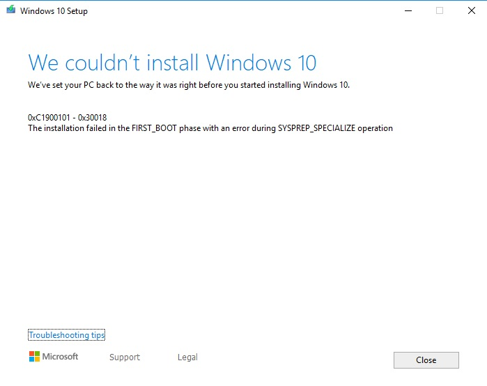 Cannot upgrade Windows 10 from 1803 to 1903 - Microsoft