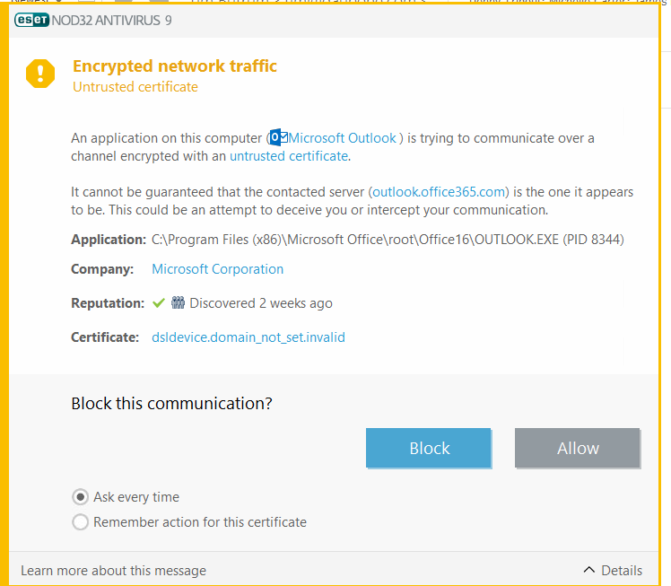 Office 365 Problem With Site Security Certificate Microsoft