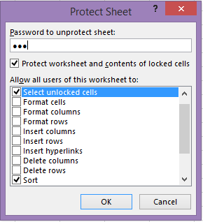 excel protect worksheet allow sorting