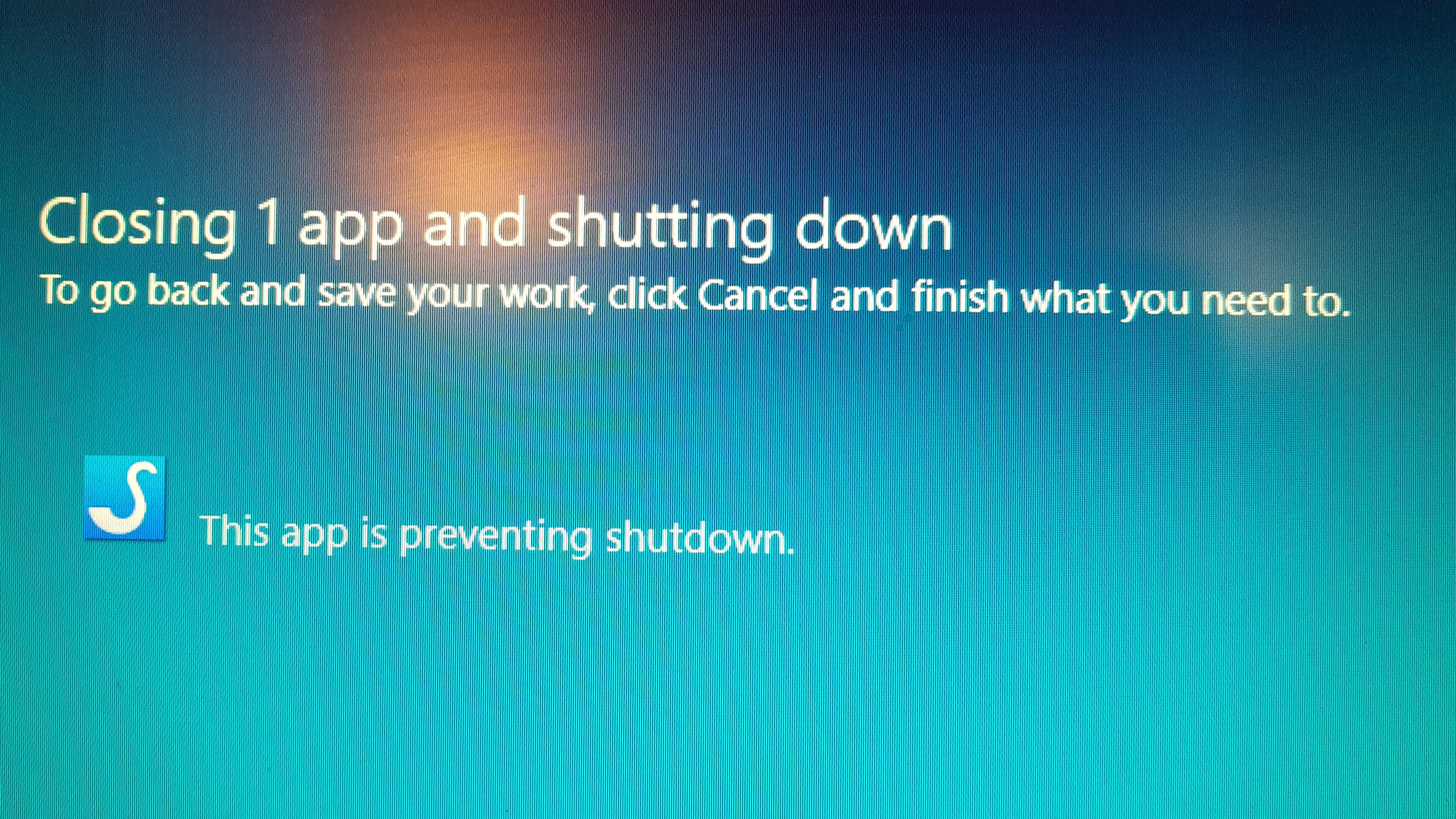 App preventing shutdown - Microsoft Community