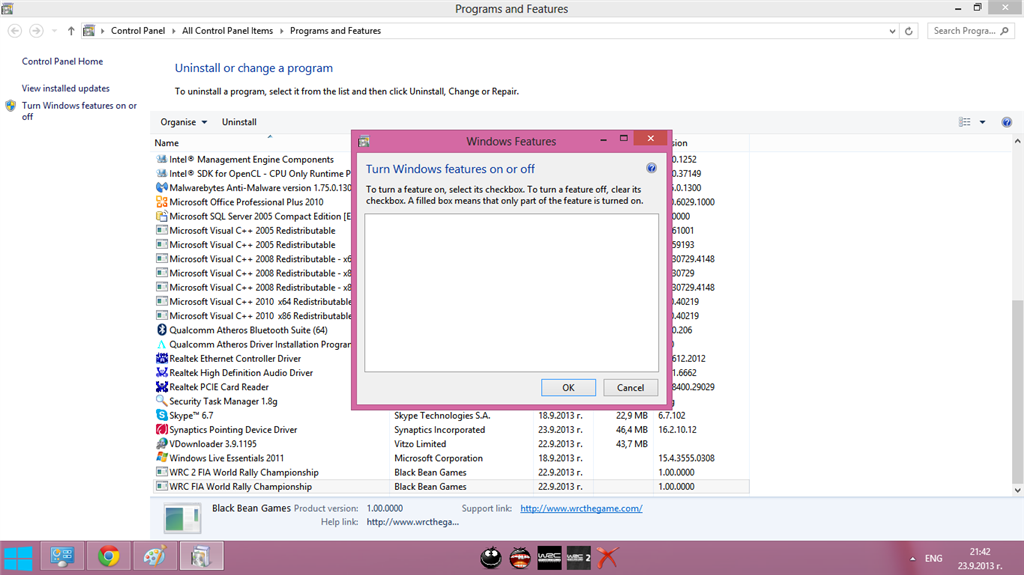 Turn Windows Features on/off box empty! - Microsoft Community