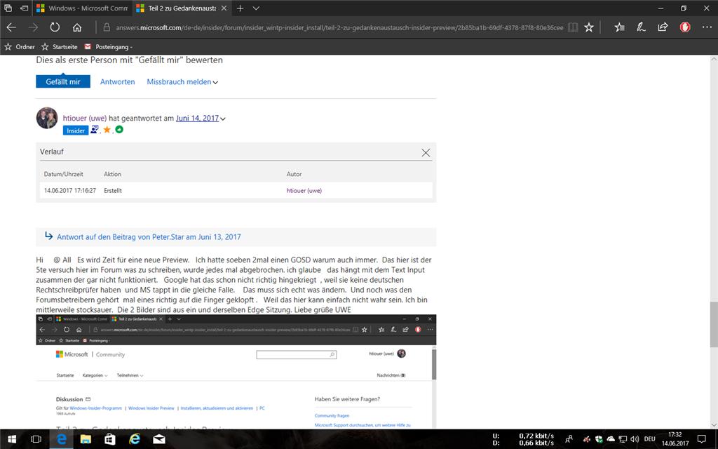 Insider Preview Build 16215 braucht sehr lange für Download