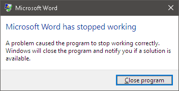 Word 2016 crashes (Stopped Working) after updating Table of